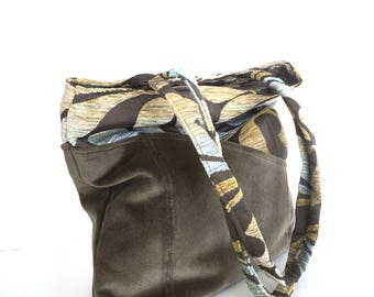 shoulder tote bag,Velvet shoulder purse, Brown handbag,Vegan day bag, Shoulder bag, Teacher bag, Casual handbag,Gift for her,Ready to ship