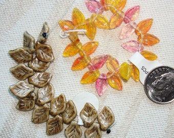 3 Strands CZECH GLASS LEAF beads - 2 Styles & Colors