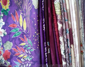 Japanese Kimono Fabric Remnants Grab Bag, Handmade Supply Asian Textile, Most Silk Fabric Scrap Mix of Purple