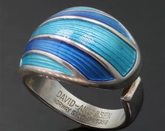 Vintage! Sterling Silver David Andersen Blue Enameled Ring