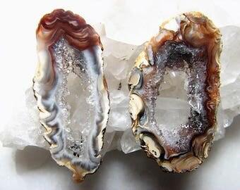 Rustic, Earth Tone Geode Slice Pair