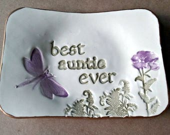 Best AUNTIE Ceramic Trinket Dish edged in gold  Mothers day