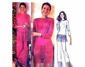 SALE 1970s Emilio Pucci Top Pants Shorts Vogue 2550 Vintage Sewing Pattern Bateau Neck Fringed Trimmed Wide Leg Pants Size 14 Bust 36