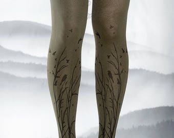 SALE///Happy2018/// Tattoo Tights -  dark army green one size Forest Symphony full length closed toe printed tights pantyhose, tattoo socks