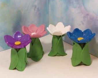 SALE 20% MINIATURES Miniature Flower Bird bath, terrarium, fairy or gnome gardens: polymer clay