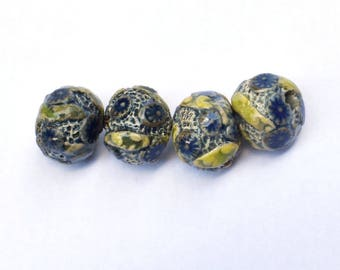 Organic Fossil Ceramic Beads, Unique ceramic beads, stoneware ceramic beads, beads with big holes, decorative beads, blue beads