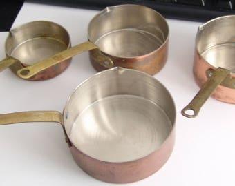 4 Vintage Copper Measuring Cups