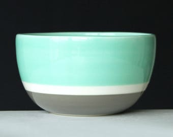 Mint Green and Grey Porcelain Bowl