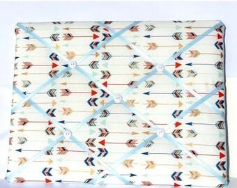 July 4th Sale Multi Colored Arrow Memory Board, French Memo Board, Arrow Fabric Pin Board, Ribbon Fabric Memo Bulletin Board, Ribbon Photo B