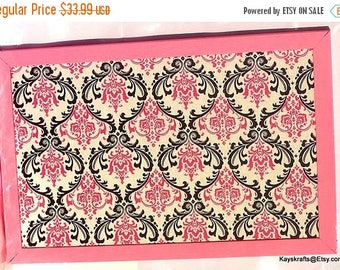 July 4th Sale Pink and Black Damask Candy Pink Frame Cork Board Damask Pin Board 17x11 Tack Board Cork Bulletin Board Cork Message Board Cor