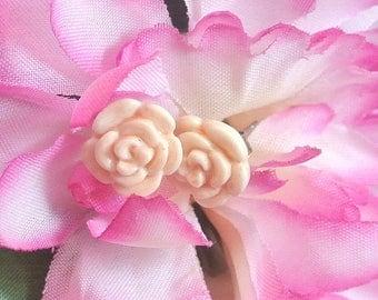 Lucite Light Pink Rose Stud Earrings Vintage Stud Earrings Open Rose Earrings Rose Stud Earrings