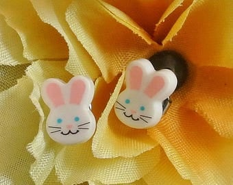 Easter Bunny Stud Earrings Vintage Stud Earrings White Bunny Studs Novelty Earrings Small Stud Earrings Free Shipping in USA