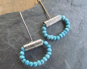 Turquoise Hoop Earrings Silver Beaded Dangling Earring Gemstone Hoop Rustic Dangle Earring Turquoise Silver Jewelry Small silver Hoops