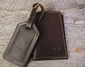 Huge Sale  Sale NEW year SALE Leather Passport Holder and Luggage Tag Gift Set |Monogram - Personalized Travel Gift Brown Stone