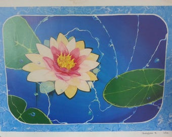 Vintage Artisan India Print Lotus Flower Tarakeswar Signed and Dated 90s Peace March
