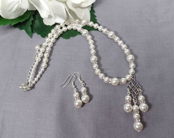 Pearl Bridal Necklace Set White Pearl Wedding Jewelry Swarovski Pearl Earrings Bridal Necklace Bridal Earrings