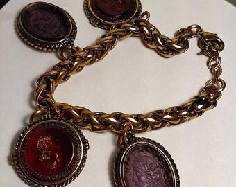 BIG SALE Vintage Large Gold Tone Cameo Intaglio Purple Lucite Charm Bracelet Wheat Chain
