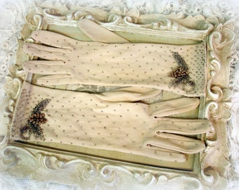 vintage beaded gloves circa 1950s tan cotton silver and gold beads made in hong kong