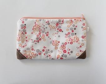 Small zipper pouch, cash envelope, Eyeglass case, Pen pencil, cash wallet, Cosmetic makeup bag, sunglasses, purse organizer, Paint Dots Gray