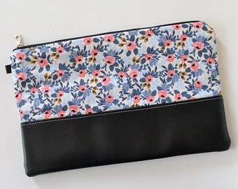 Zipper Clutch, Vegan leather, Kindle, ipad device padded sleeve, metal zip pouch, bag, Diaper wipes holder, makeup organizer Blue floral