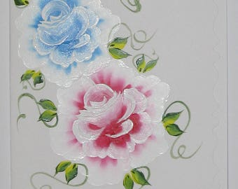 Hand Painted Card - Blue and Pink Roses - No. 1220