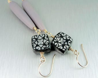 Black and Lavender Earrings - Czech Glass and Polymer Clay Earrings - Shoulder Dusters