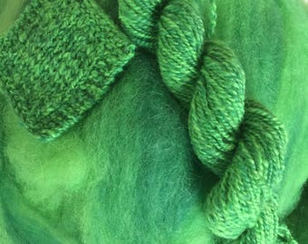 Goblin Green - appx. 8 ounces - Wool and Mohair Roving