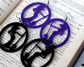 Acrylic Large Witch Earrings Black Purple - Halloween Goth Witchy Psychobilly Witchcraft