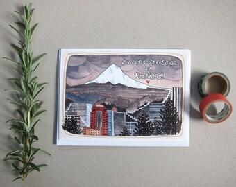 SALE - Portland Christmas Card - Portland Holiday Card - Illustrated Portland Card - Portland Oregon Card - Season's Greetings from Portland