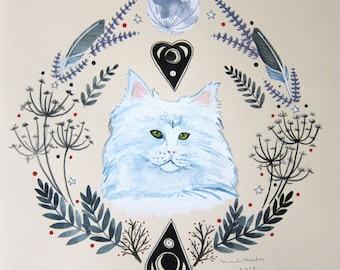 Art - Painting - Original Art - Cat Art - Cat Painting - Feline Familiar Art - Witch Painting - Witch Art - Witch Cat - White Cat Art - Luna