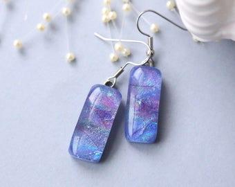 Dangle Earrings Drop Hydrangea Dichroic Glass, Dichroic, 0142