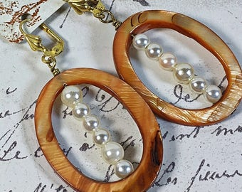 Recycled Upcycled vintage pearl and shell earrings oval shell leverback