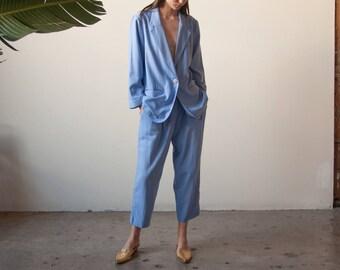 perwinkle blue woven cropped pantsuit / COLORBLOCK pant suit / vintage 80s suit set / m / 2230o / B5
