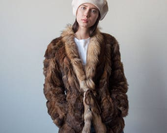 70s patchwork rabbit fur jacket / cinched fur coat / s / m / 2377o / R5