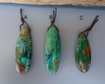 Parrot Wing Chrysocolla Pendant,Chrysocolla Drilled Cabochon,Chrysocolla Teardrop Pendant,Parrot Wing Chrysocolla Cab,Large Chrysocolla Bead