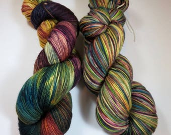 Handpainted Ultra Merino Superwash Sock/Fingering -- The Library at Downton -- Lighter Batch