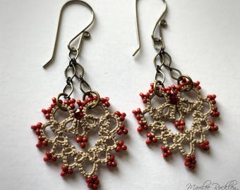 Lace heart earrings ecru tatting with russet beads and hypoallergenic niobium earwires