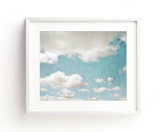 "cloud, wall art, art print, photograph, large art, large wall art, blue, aqua, sky, dreamy, white, farmhouse decor, nature - ""Into the Sky"""