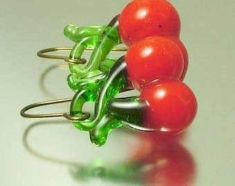 Vintage/ estate jewelry handmade bronze finish and red glass cherry drop earrings - jewellery
