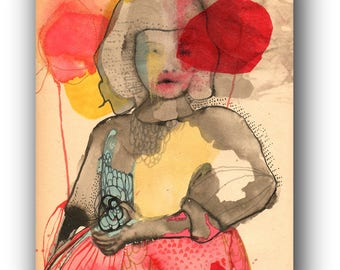 """ORIGINAL Watercolor Illustration, Simple Embroidery on Vintage Paper, Modern Art ,   by Christina Romeo......""""Refuse"""""""