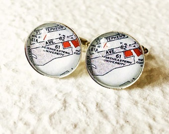 Northeastern University Map Cufflinks - Graduation gift for Graduate or Alumni - Can also be made into a necklace or tie clip