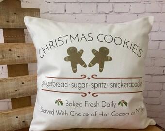 Christmas Cookies throw pillow cover/farmhouse decor/ christmas pillow/ gingerbread man pillow