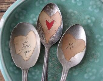 3 Valentine Plant Marker Spoons  Vintage Spoon Plant Marker