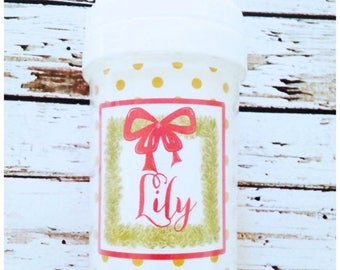 ON SALE Personalized Christmas Wreath Spill Proof Sippy Cup - Christmas