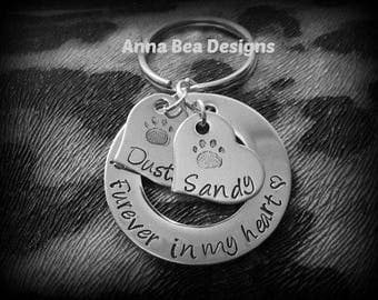 Furever in my Heart Loss of Pet Remembrance Memorial Custom Hand Stamped Keychain