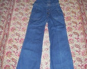 Bib Overalls Hang Ten Bell Bottom Hippie Overalls 1970s 70s Vintage Sexy Denim Jeans Cotton Bibs Overall Unisex Adult 29 x 32.5