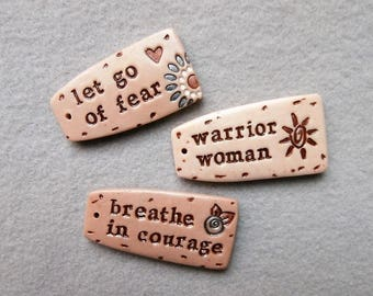 Life Message Charms/Inspiration Quote Charms - Let Go of Fear, Warrior Woman, Breathe in Courage