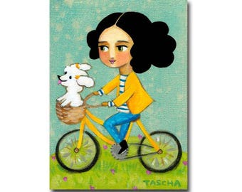 Bichon Frises Bike Ride painting ORIGINAL bichon painting cute dog folk art bicycle painting by artist Tascha