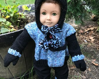 Doll Hoodie, mittens, leg warmers, purse, and knit pants for 18 inch doll