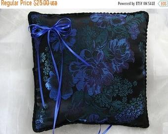 On Sale Elegant Asian Cobalt Blue Asters Ring Pillow-Asian Brocade-Black and Green Asian Flowers-Black Trim Ring Bearer-Ring Barer-Cushion